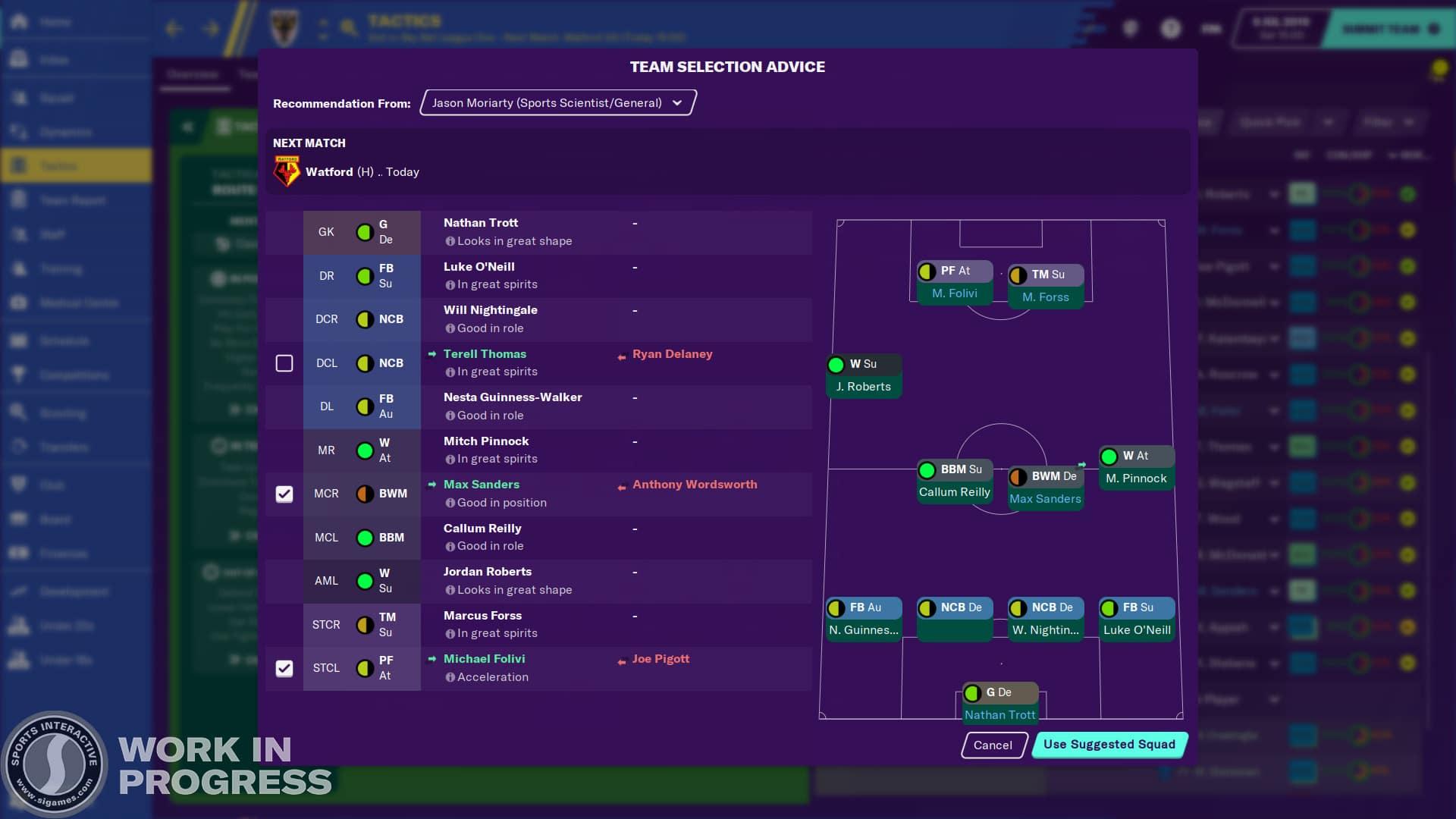 Conseils de sélection d'équipe sur l'écran Tactique