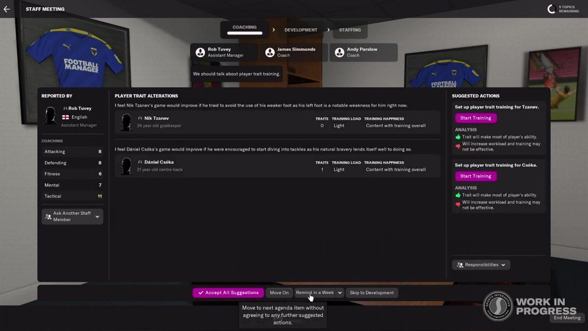 Information sur l'évolution des joueurs FM22